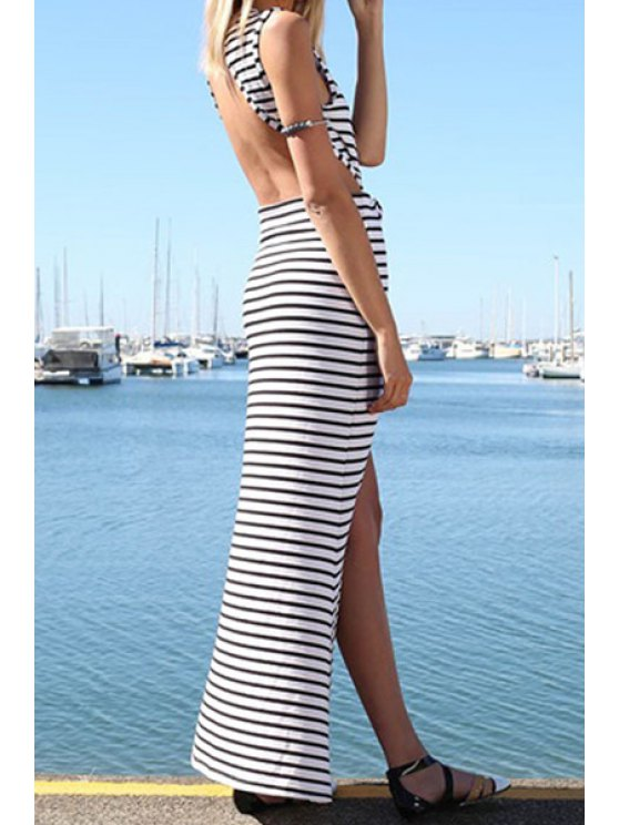 chic Stripe Open Back Sleeveless Maxi Dress - STRIPE S