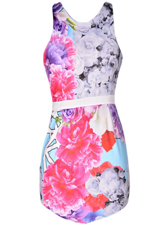 women Floral Backless Sleeveless Bodycon Dress - COLORMIX S