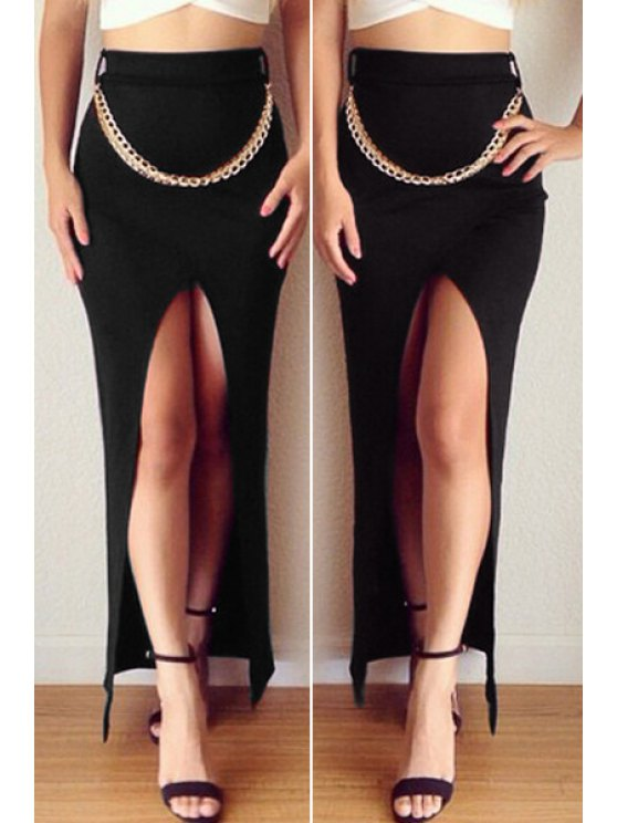 lady Solid Color Slit Bodycon Skirt - BLACK S