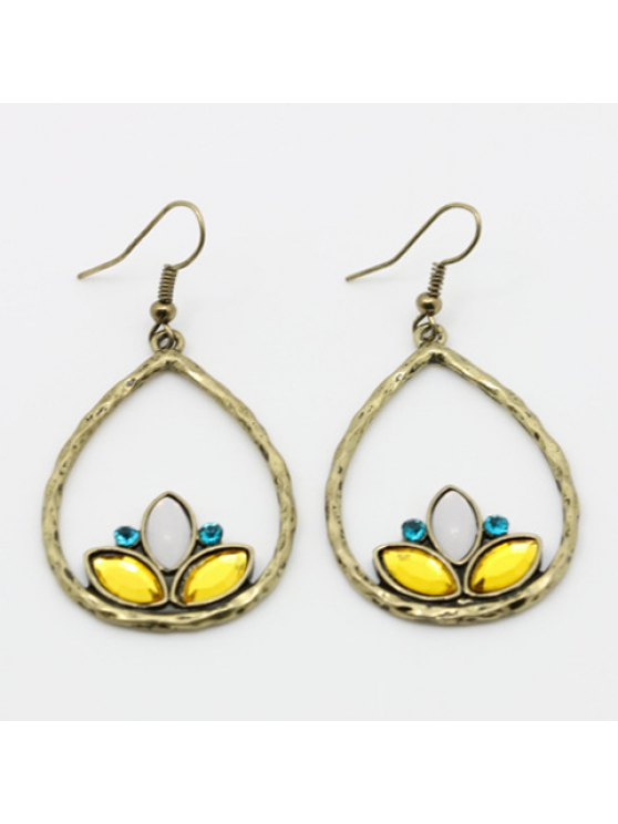 chic Pair of Fashion Rhinestone Drop Pendant Earrings For Women - GOLDEN
