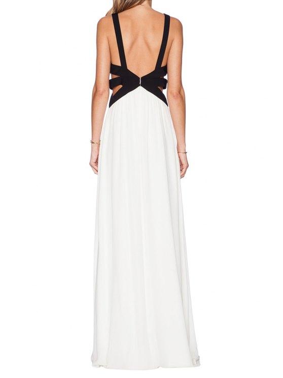 unique Color Block Bandage Backless Openwork Maxi Dress - WHITE AND BLACK L