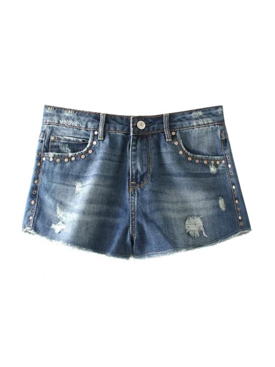 fashion Destroy Wash Rivet Embellished Denim Shorts - BLUE 34