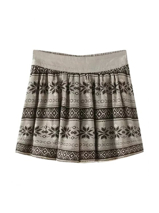 chic Color Block Floral Print Pleated Skirt - GRAY ONE SIZE(FIT SIZE XS TO M)
