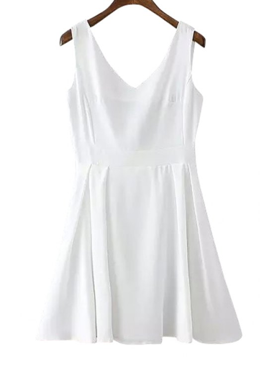 new Backless Bowknot Solid Color Sleeveless Dress - WHITE S