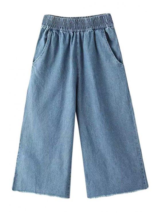 online Bleach Wash Denim Wide Leg Pants - BLUE M