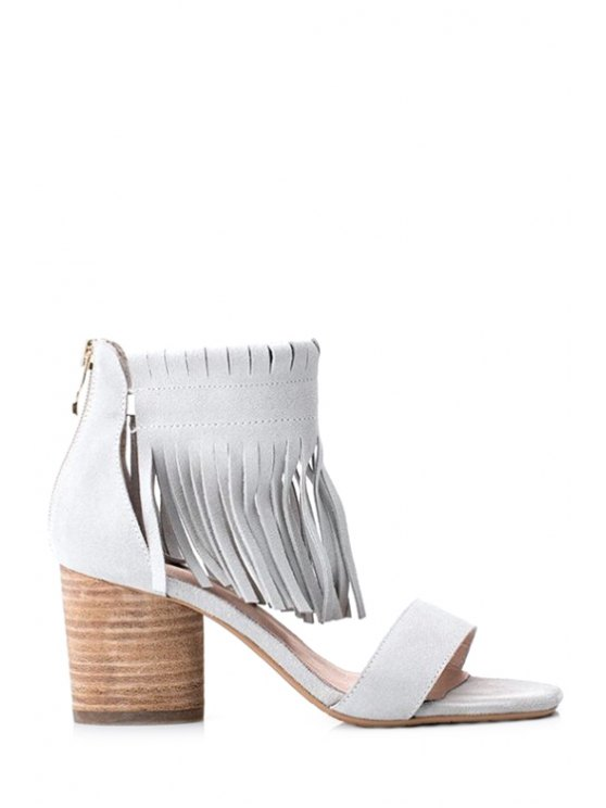 outfits Solid Color Tassels Chunky Heel Sandals - OFF-WHITE 36