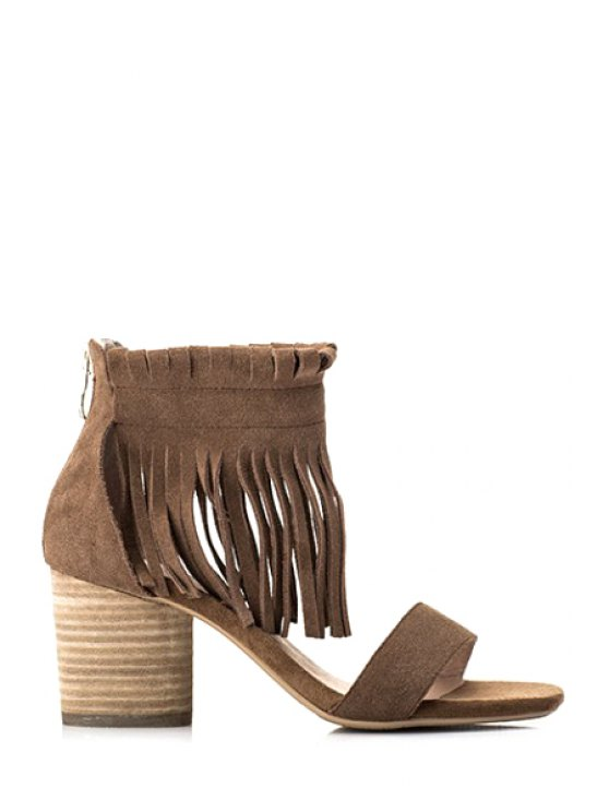 womens Solid Color Tassels Chunky Heel Sandals - CAMEL 38
