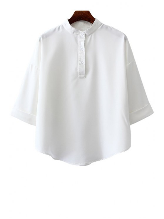 affordable Stand-Up Collar Solid Color 3/4 Sleeve Shirt - WHITE ONE SIZE(FIT SIZE XS TO M)