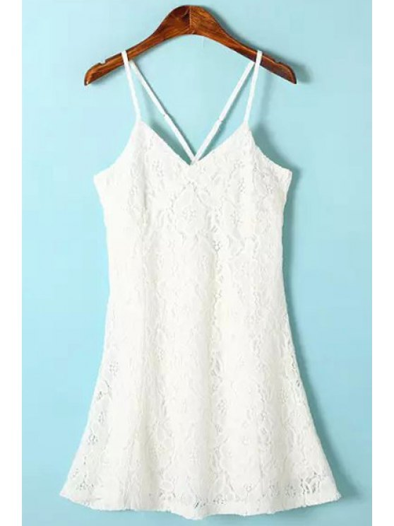 online Spaghetti Strap Cross Solid Color Lace Dress - WHITE S