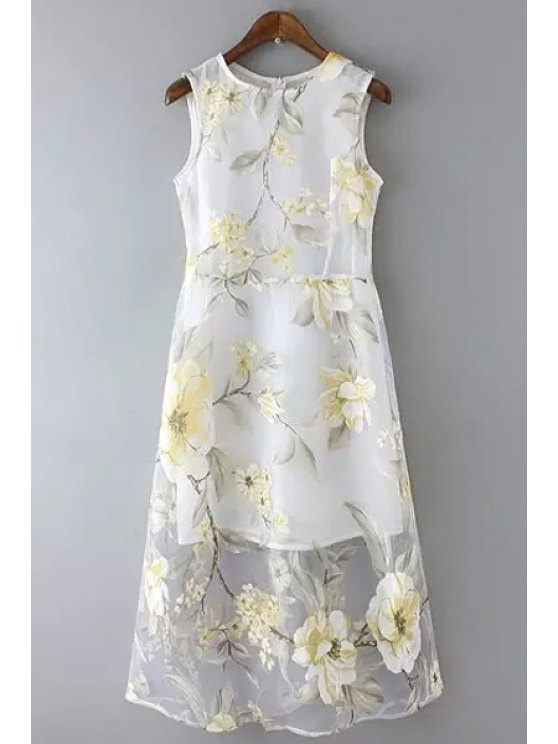 fancy Floral Print Voile Sleeveless Dress - WHITE S