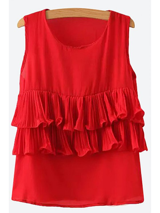 hot Solid Color Flounce Splicing Sleeveless Tank Top - RED S