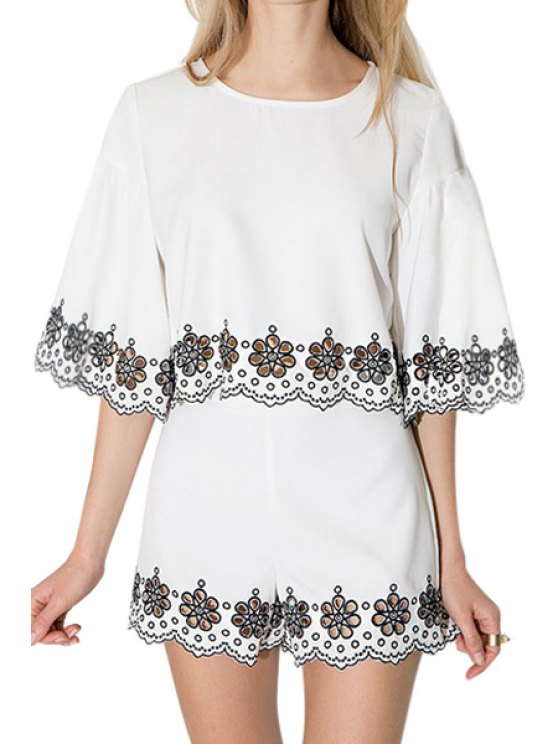 womens Floral Embroidery Openwork Half Sleeve Blouse - WHITE S