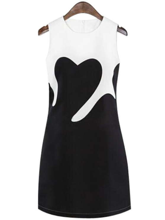fancy Color Block Sleeveless Dress - WHITE AND BLACK S