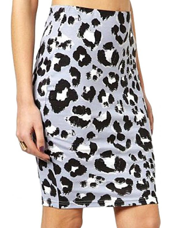 latest Leopard Pattern Wrapped Skirt - COLORMIX S
