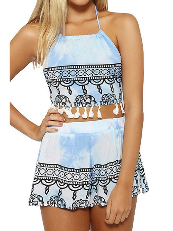 online Halter Crop Top and Ethnic Print Shorts Suit - LIGHT BLUE S