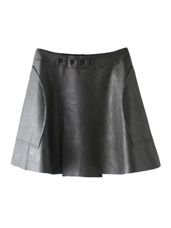 outfits PU Leather Splicing Slit Buttons Skirt - BLACK S