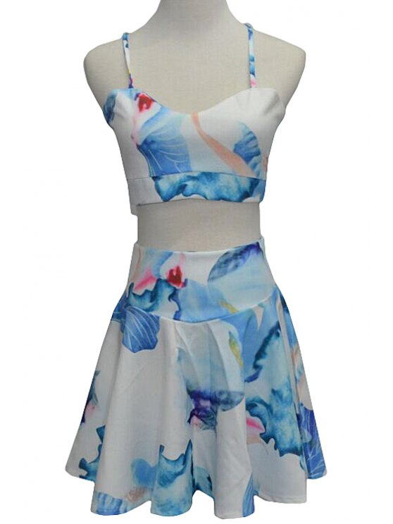 fashion Spaghetti Straps Crop Top and Floral Skirt Suit - WATER BLUE S