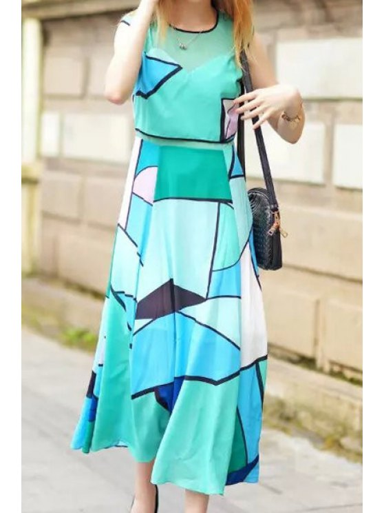 lady Color Block Voile Splicing Sleeveless Maxi Dress - GREEN S