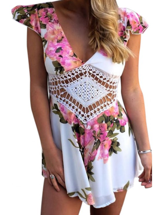 shops Floral Cap Sleeve Plunging Neck Romper - WATER RED S