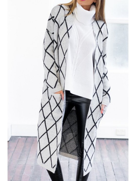 outfit Collarless Argyle Pattern Long Sleeve Cardigan - GRAY ONE SIZE(FIT SIZE XS TO M)