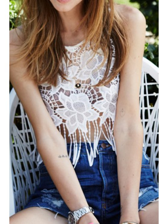 lady Lace Crochet Flower Sleeveless Crop Top - WHITE S