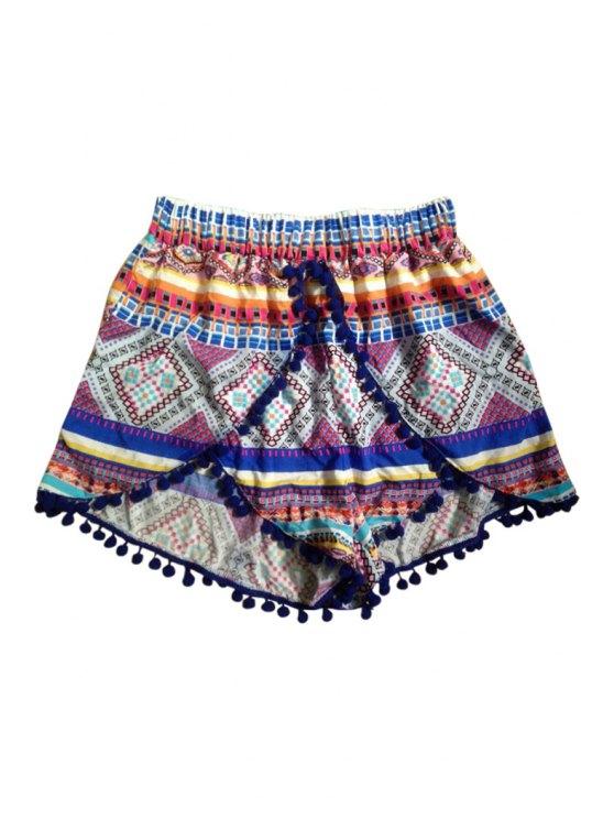 buy Argyle Print Elastic Waist Shorts - COLORMIX S