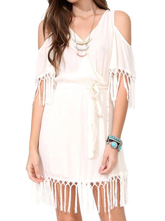 unique Solid Color Tassels Short Sleeves Dress - WHITE S