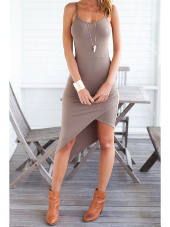 chic Spaghetti Strap Irregular Hem Bodycon Dress - CAMEL S