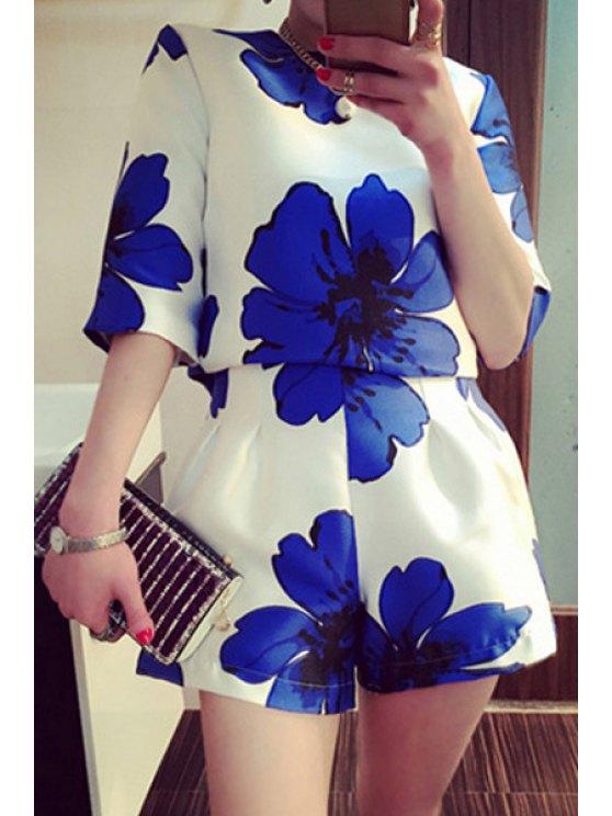 women's Blouse and Floral Print Wide Leg Shorts Suit - DEEP BLUE M