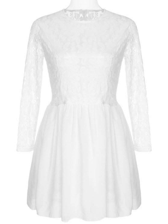 online See-Through Lace Splicing Long Sleeve Dress - WHITE M