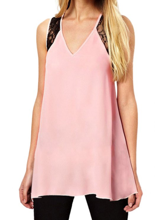 fancy Lace Cross Backless Sleeveless Tank Top - PINK M