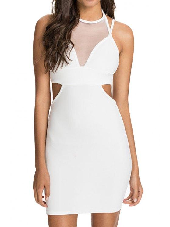 sale Voile Spliced Halter Bodycon Dress - WHITE M