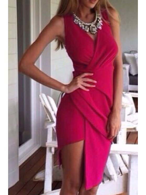 ladies Solid Color Irregular Sleeveless Dress - ROSE S