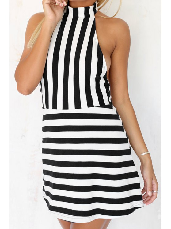 unique Halter Neck Backless Stripe Sleeveless Dress - BLACK S