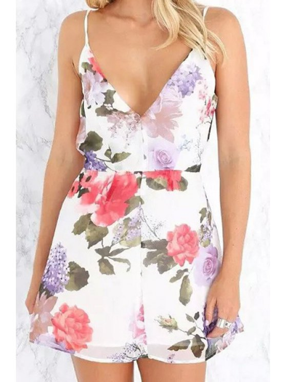 new Plunging Neck Backless Floral Print Dress - WHITE S