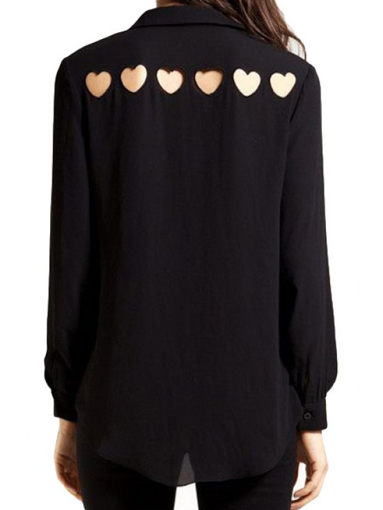 ladies Back Heart Pattern Hollow Out Shirt - BLACK S