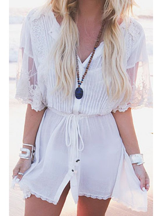 buy Solid Color See-Through Tie-Up Cover-Up - WHITE ONE SIZE(FIT SIZE XS TO M)