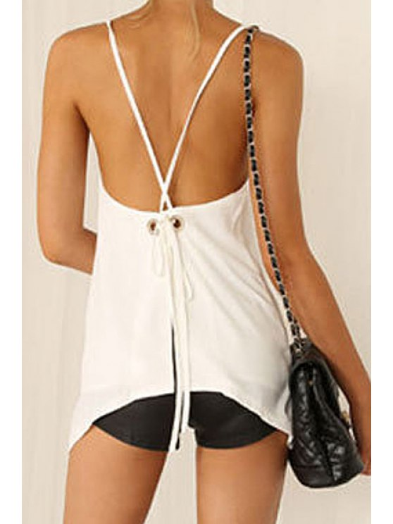 outfit Spaghetti Strap Solid Color Backless Slit Tank Top - WHITE S