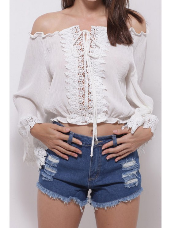 affordable Solid Color Tie-Up Lace Splicing Long Sleeve Blouse - WHITE ONE SIZE(FIT SIZE XS TO M)