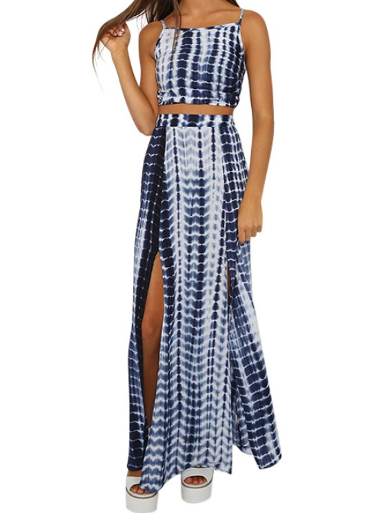 lady Color Block Stripe Backless Tank Top + Slit Long Skirt - BLUE AND WHITE S