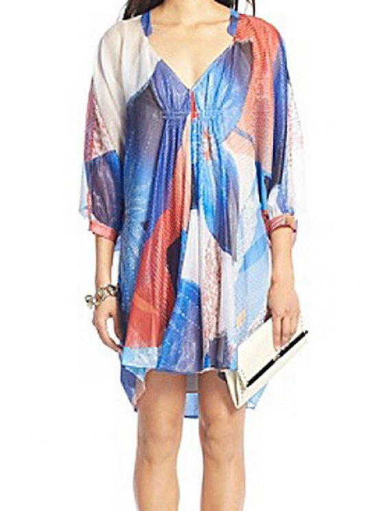 outfit Print V-Neck 3/4 Sleeve Dress - BLUE ONE SIZE(FIT SIZE XS TO M)