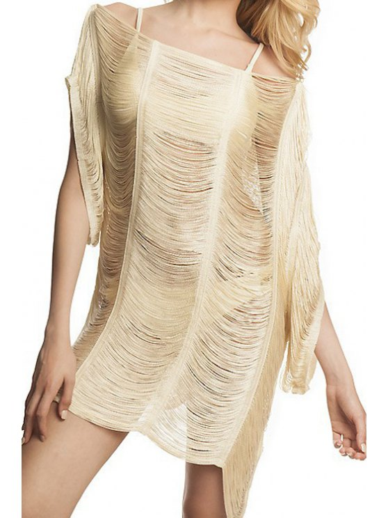 hot Hollow Slash Neck Cover-Up Dress - WHITE ONE SIZE(FIT SIZE XS TO M)