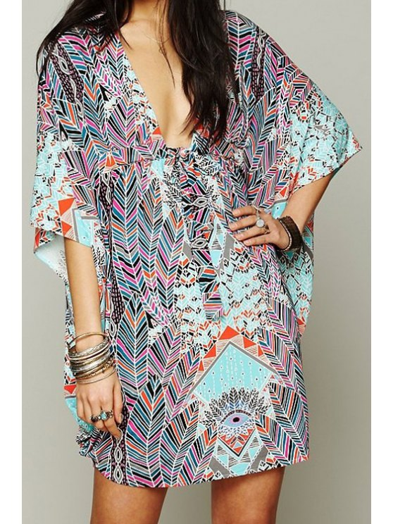 best Print Plunging Neck Cover-Up Dress - COLORMIX ONE SIZE(FIT SIZE XS TO M)