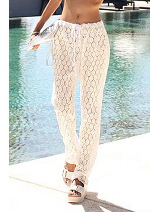 chic Hollow Out Drawstring Pants - WHITE ONE SIZE(FIT SIZE XS TO M)