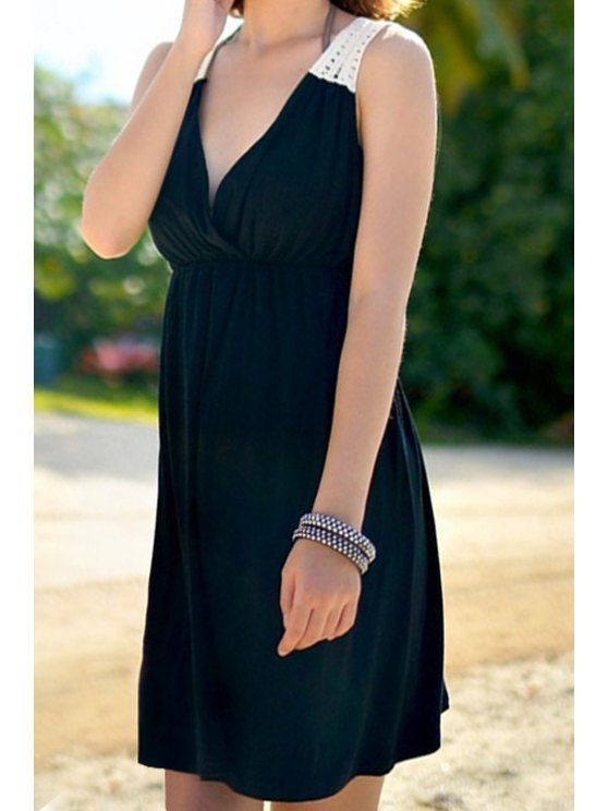 online Crochet Spliced Sleeveless Dress - BLACK ONE SIZE(FIT SIZE XS TO M)