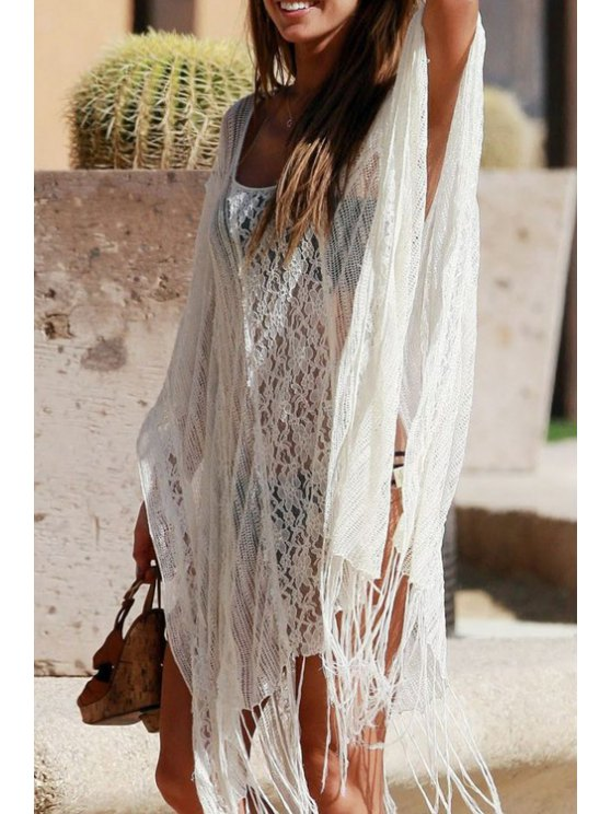 fashion White Crochet Hollow Cover-Up - WHITE ONE SIZE(FIT SIZE XS TO M)