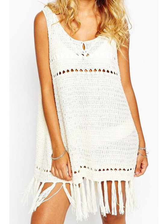 unique Hollow Sleeveless Crochet Cover-Up Dress - OFF-WHITE ONE SIZE(FIT SIZE XS TO M)