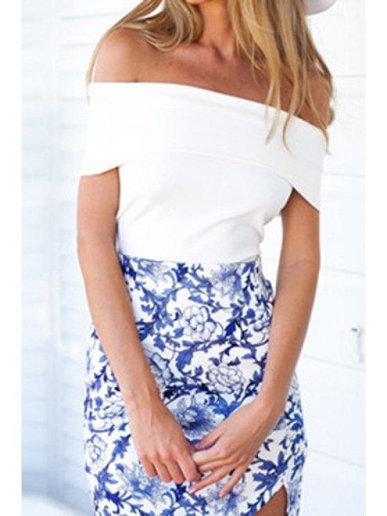 chic Solid Color Slash Neck Short Sleeve T-Shirt - WHITE S