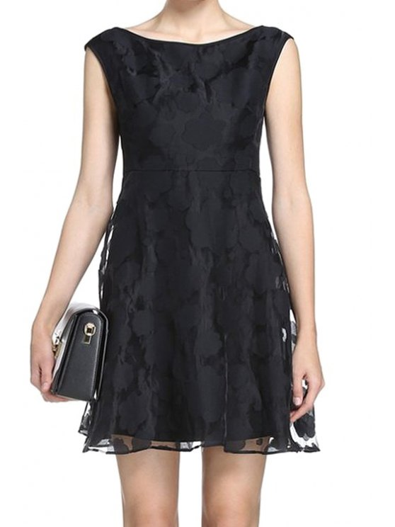 buy Black Voile Sleeveless A-Line Dress - BLACK S
