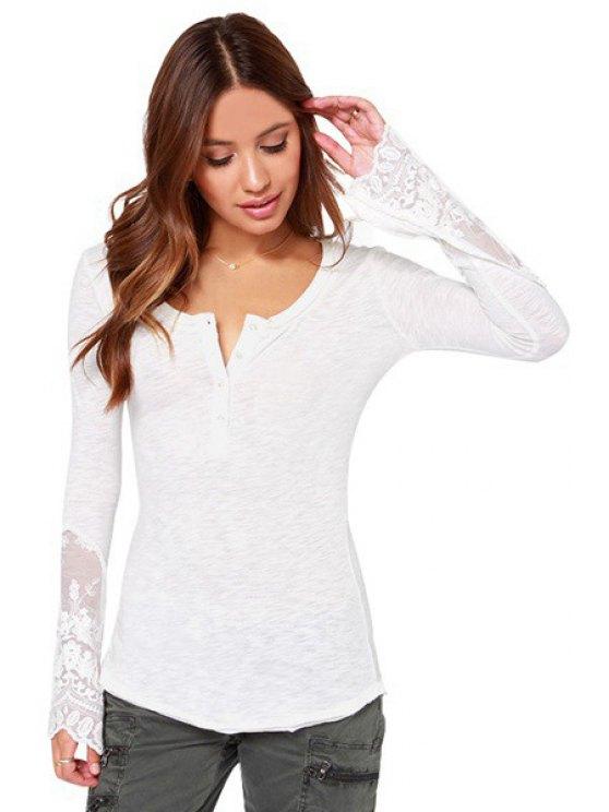 unique Lace Trim Henley Tee Shirt - WHITE S